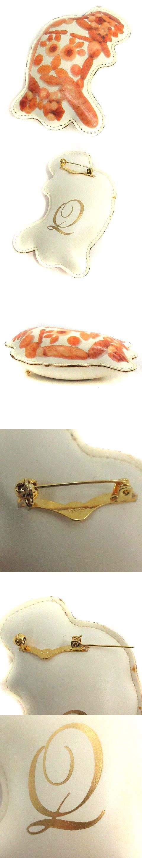 ブローチ ピン パン 顔 茶 白 /YI25