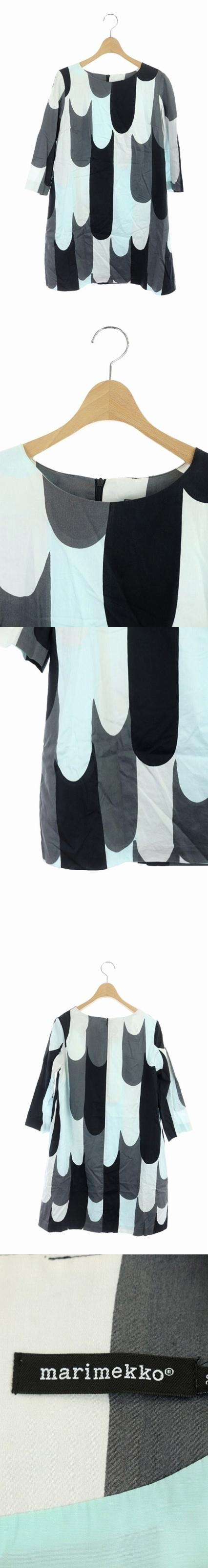 RITARI MINNE ワンピース 七分袖 ひざ丈 総柄 36 グレー 黒 水色 /MN ■OS