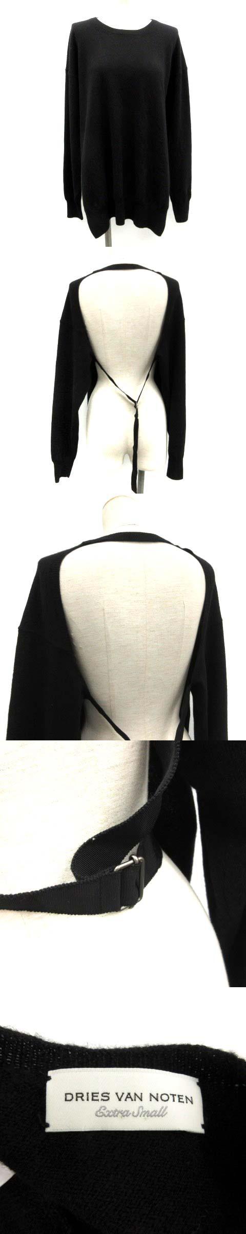18SS デザインニット セーター 長袖 クルーネック XS 黒 ブラック /TK