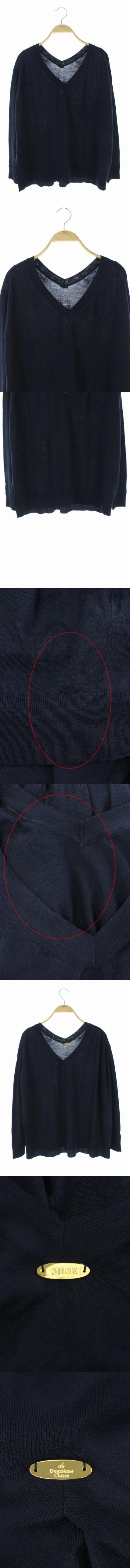 ニット セーター Vネック 長袖 紺 /AO ■OS