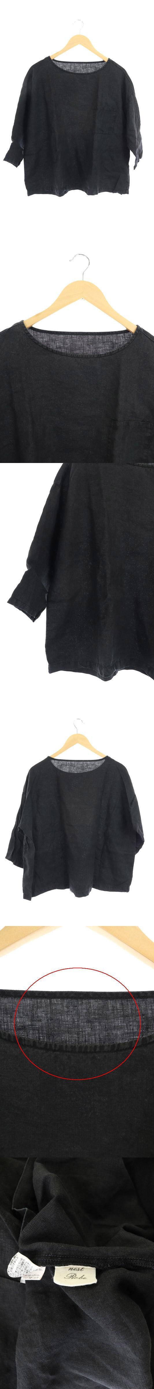 ブラウス リネン プルオーバー 七分袖 黒 /AO ■OS