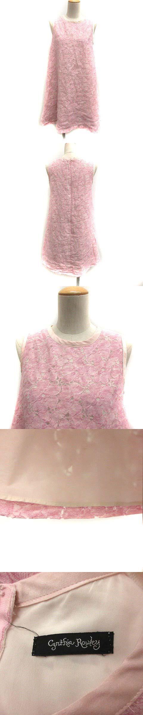 ワンピース フレア ひざ丈 花柄 ノースリーブ 2 ピンク /YI36