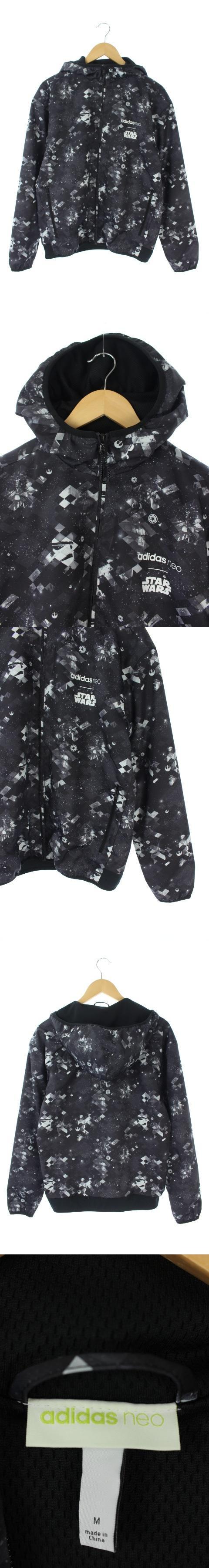 ジャケット ブルゾン ジップアップ フード付き 総柄 ロゴプリント M 黒 CD3550 /AA ■OS