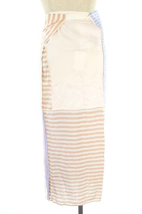 未使用品 マルタンマルジェラ Martin Margiela 6 MM6 Maison Margiela 18SS スカート ストライプ ラップ ロング 36 青 ベージュ /AO ■OS レディース