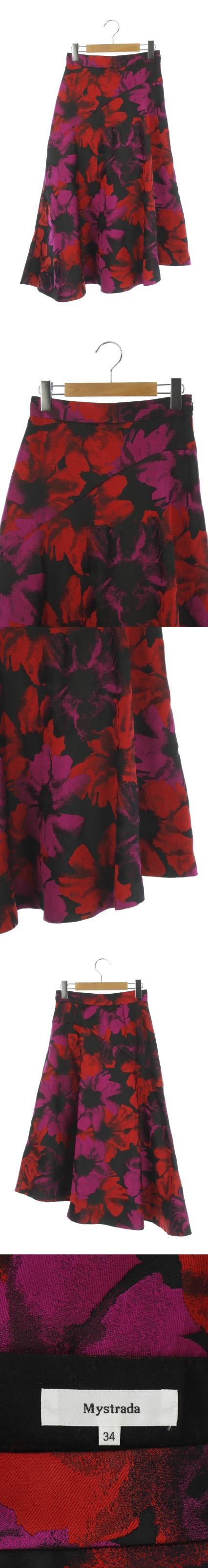 18AW スカート ロング フレア ジャガード 総柄 34 黒 ピンク /AO ■OS