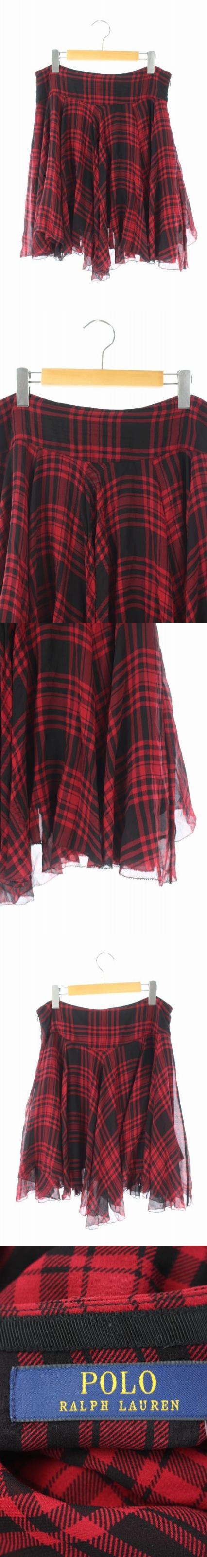 スカート シフォン チェック ひざ丈 フレア 6 赤 黒 /AO ■OS