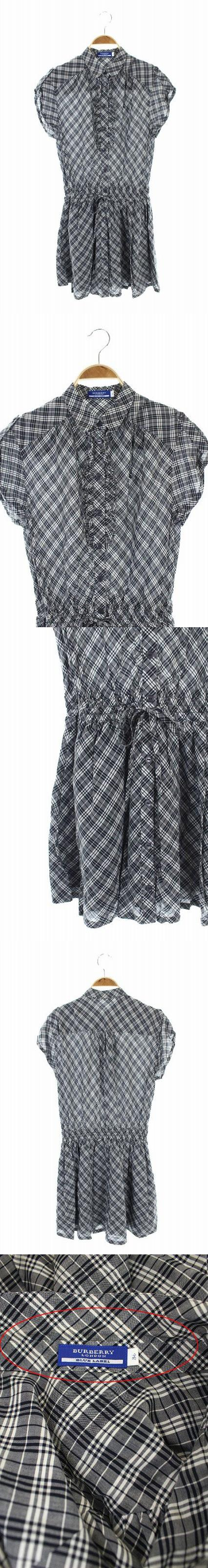 ワンピース シャツ 半袖 ギャザー ミニ チェック フリル 36 紺 白 /AA ■OS