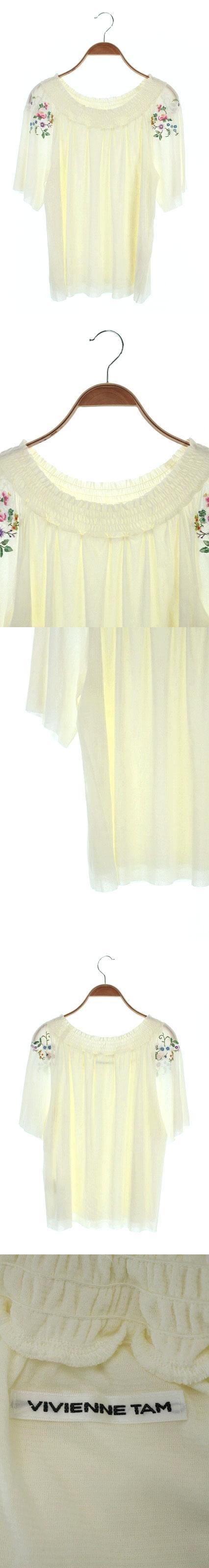 ブラウス 半袖 刺繍 40 アイボリー /MI ■OS
