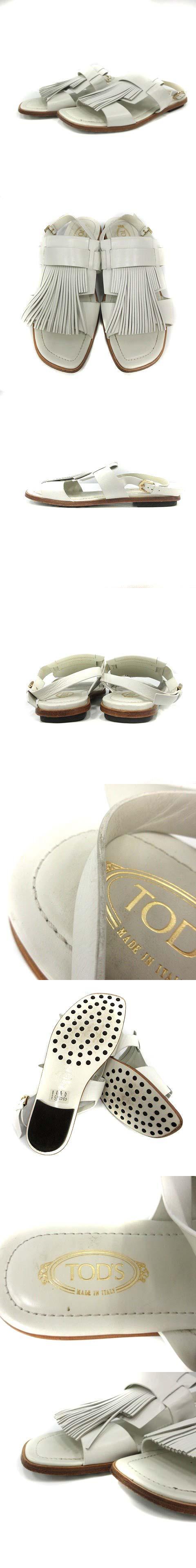 サンダル ストラップ フラット レザー フリンジ 36.5 白 /YI29