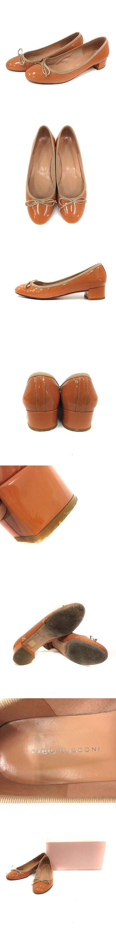 パンプス エナメル オーバルトゥ ローヒール リボン 37 茶 /YI3