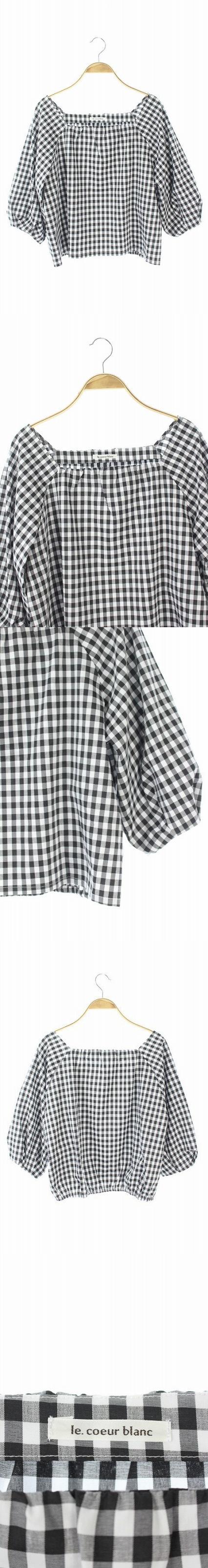 ブラウス プルオーバー 五分袖 ギンガムチェック 38 白 黒 /HH ■OS