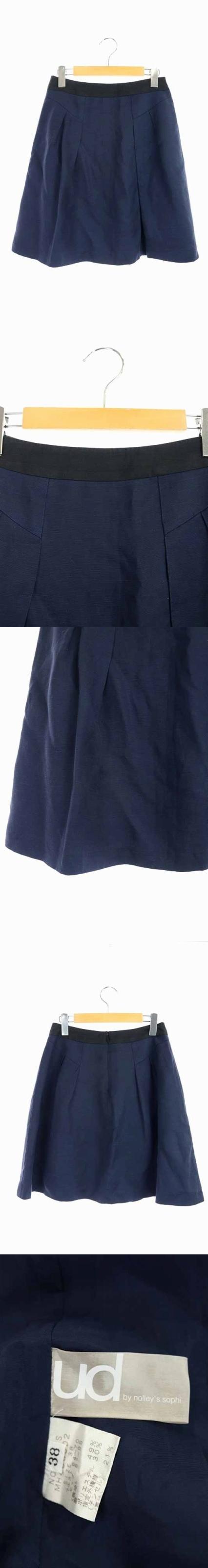 ユーディーバイノーリーズソフィー ud by nolley's sophi スカート ひざ丈 フレア リネン混 麻混 38 紺 ネイビー /RM ■OS