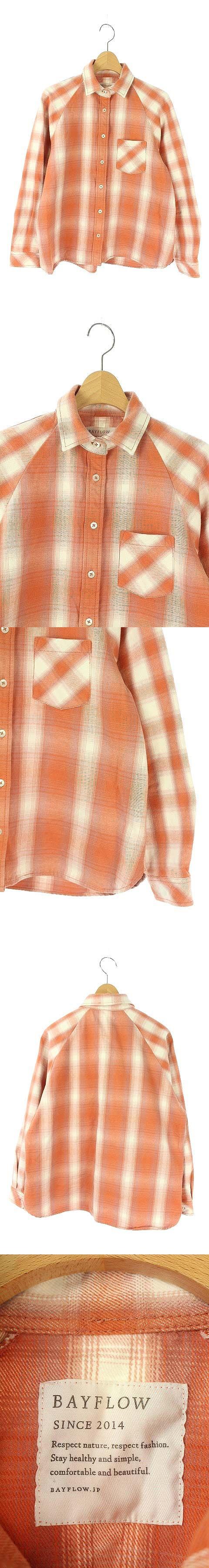 シャツ 長袖 オンブレチェック 胸ポケット 2 オレンジ /AA ■OS