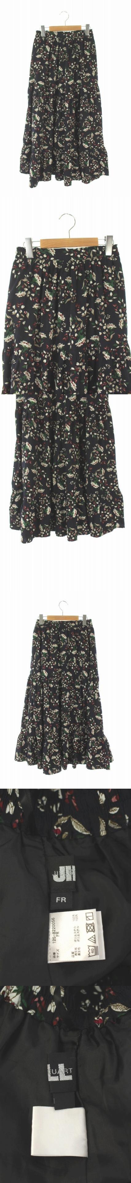 18AW スカート ロング フレア 花柄 FR 黒 /AO ■OS