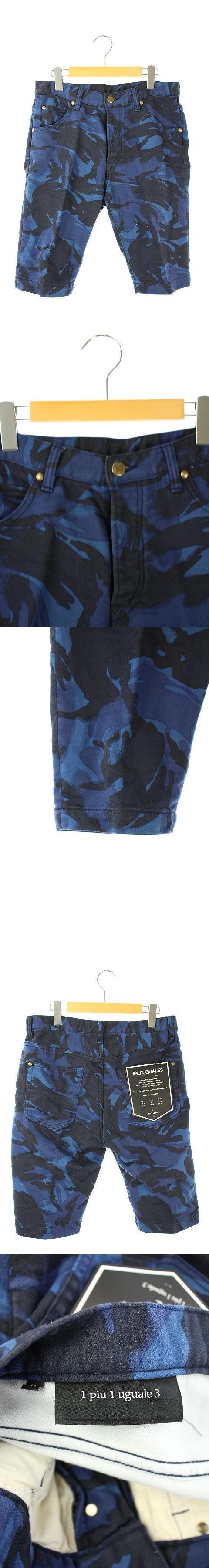 パンツ ハーフ スウェット地 ボタンフライ カモフラ柄 5 紺 黒 /HH ■OS