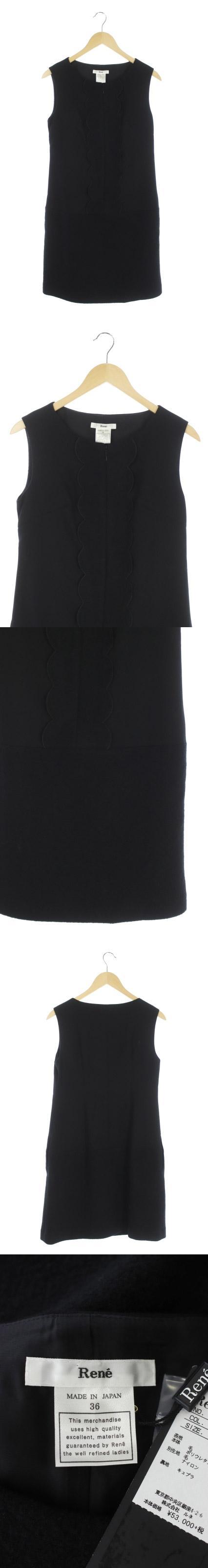 ワンピース 膝丈 ノースリーブ スカラップ 36 黒 /HH ■OS