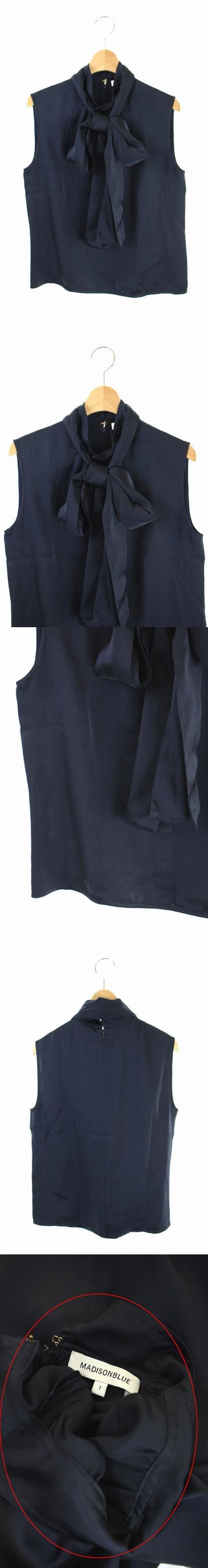 18SS ブラウス ノースリーブ プルオーバー ハイネック リボン付き 1 紺 /AA ■OS