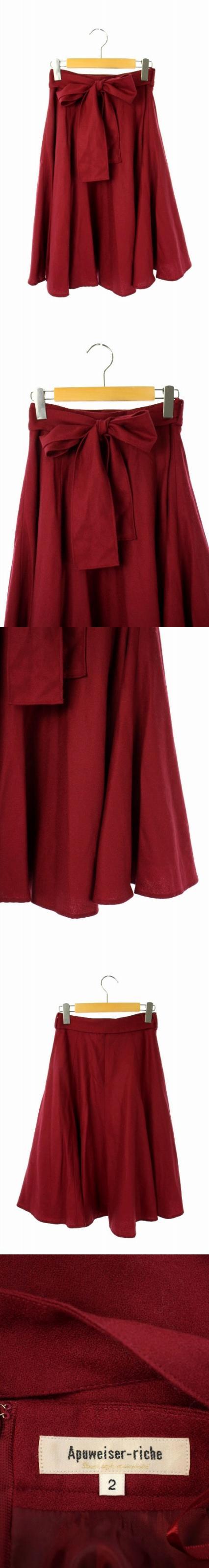16AW スカート ロング フレア リボン 2 赤 /AO ■OS