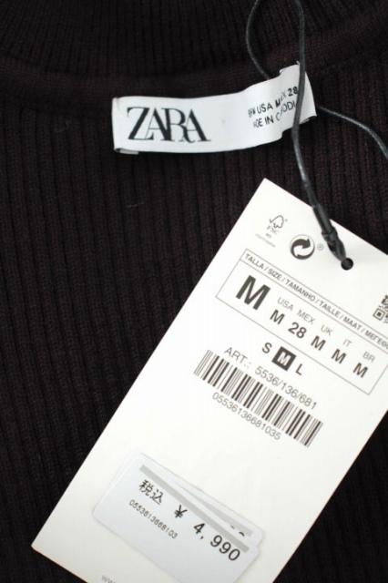 ザラ ZARA ニット セーター ボリュームネック リブ 七分袖 USA M ボルドー /AO ■OS レディース