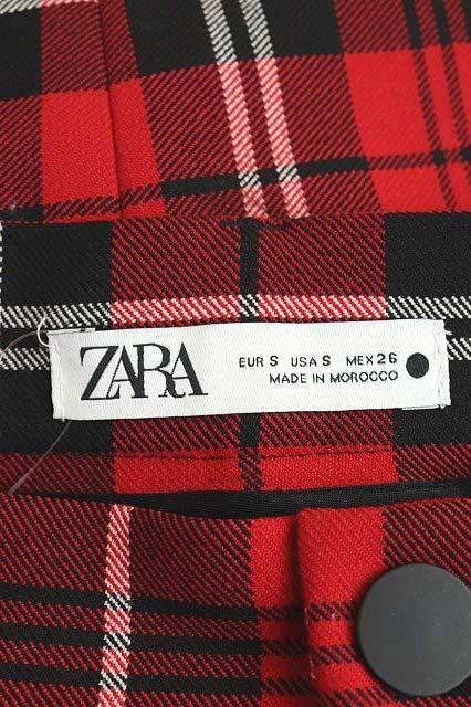 ザラ ZARA スカート タイト ロング チェック フロントスリット S 赤 レッド /RM ■OS レディース