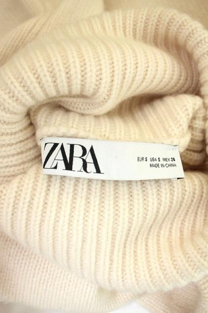 ザラ ZARA ボリュームニット カシミヤ セーター 長袖 プルオーバー タートルネック S ベージュ /AA ■OS レディース