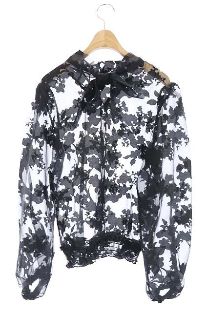 ザラ ZARA シアーブラウス 総柄 シースルー リボン 長袖 S 黒 ブラック /RM ■OS レディース