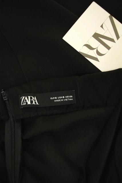 ザラ ZARA スリットタイトスカート ロング ギャザー S 黒 /MN ■OS レディース