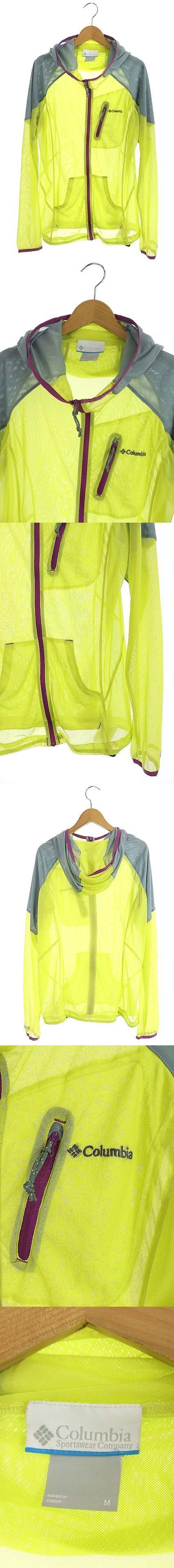 ジャケット メッシュ ジップアップ フード付き ロゴ刺繍 M 黄緑 グレー 紫 /AA ■OS