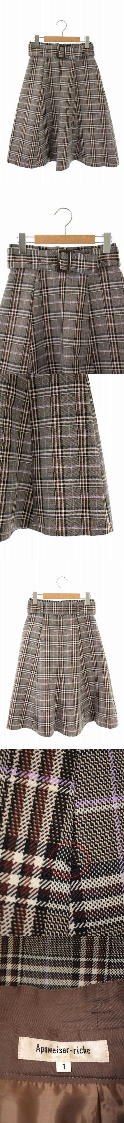 18AW バレンシアチェックフレアスカート ロング ベルト付き 1 茶 紫 /AA ■OS
