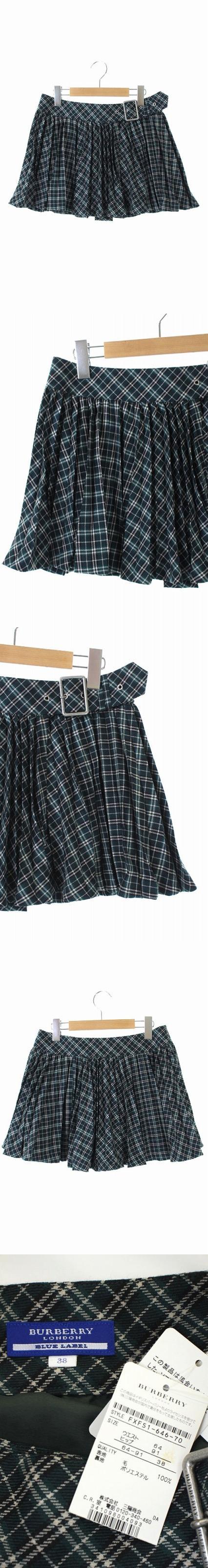 ウールチェック柄プリーツラップスカート ミニ 38 緑 /KN ■OS