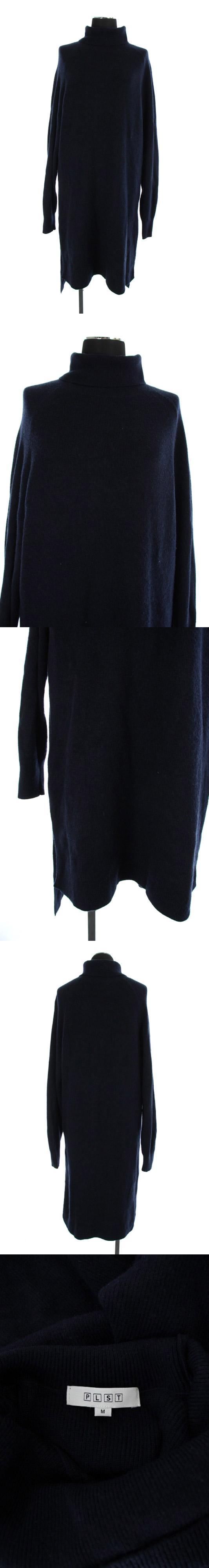 19AW タートルネックニットセーター ワンピース ロング 長袖 M 紺 /MY ■OS
