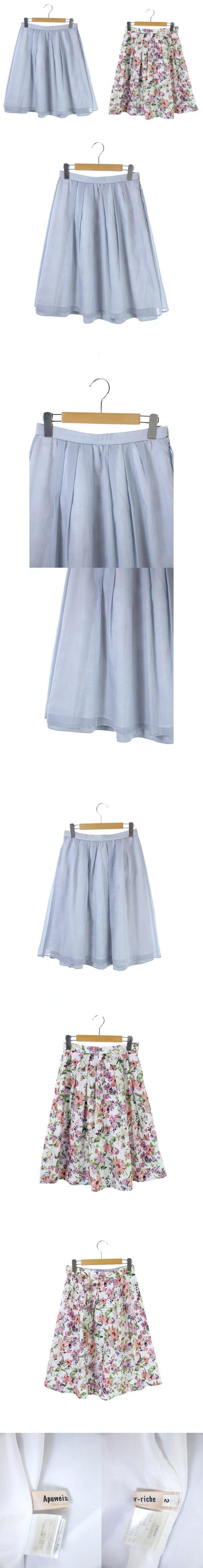 18SS リバーシブルスカート フレア 膝丈 花柄 無地 2 白 ピンク グレー /AA ■OS