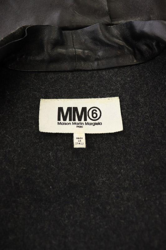 マルタンマルジェラ Martin Margiela 6 MM6 ウールレザーライダースジャケット ジップアップ 羊革 42 黒 /YS ■OS レディース
