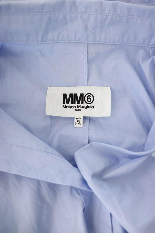 マルタンマルジェラ Martin Margiela 6 MM6 ノースリーブシャツワンピース ひざ丈 フレア ベルト付き 38 水色 /YS ■OS レディース