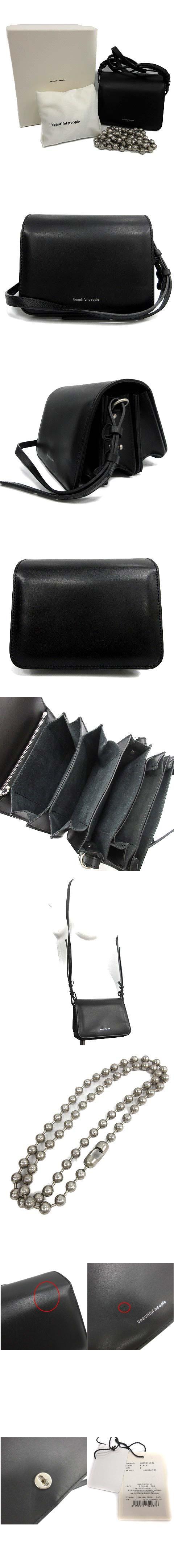 smooth leather slant ing accordion bag ショルダーバッグ 2WAY レザー ボールチェーン 黒 1835611942 /☆K