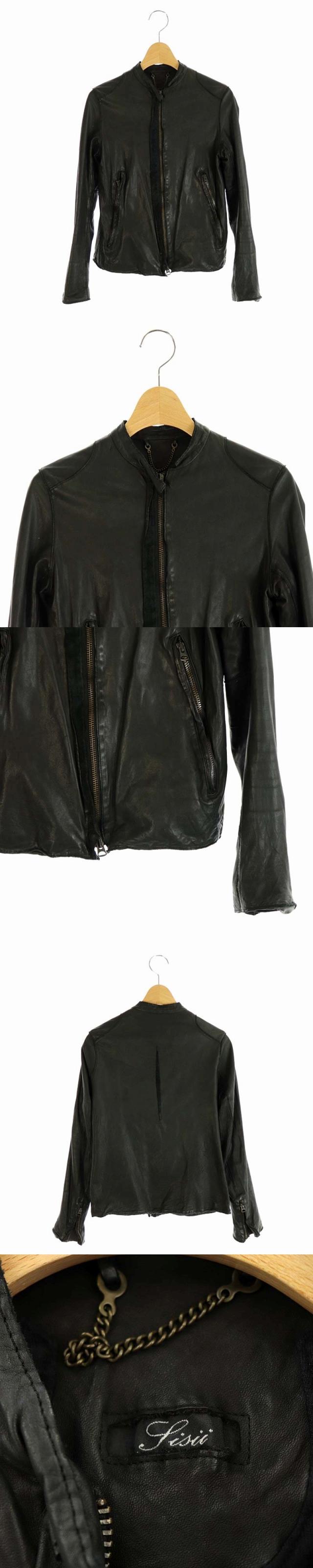 カウレザー シングルライダースジャケット ジップアップ XXS 黒 /AA ■OS