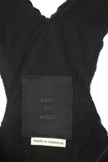 イージートゥウェアー EASY TO WEAR コーデュロイ オーバーオール ワイド テーパード カットオフ 46 黒 白 /AA ■OS メンズ