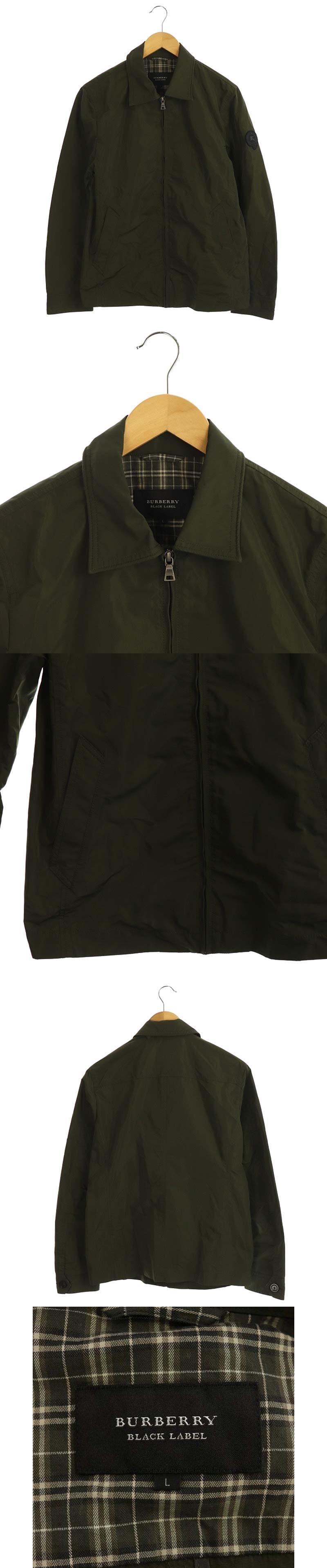 ワッペン付ジップアップジャケット ブルゾン アウター L カーキ 緑 /DF ■OS
