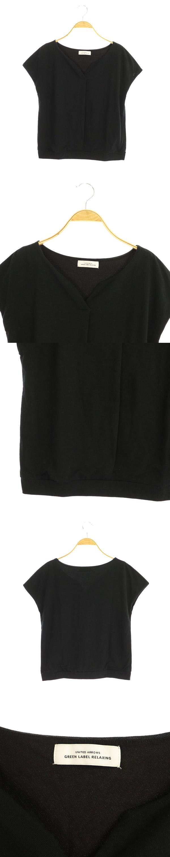 スキッパーフレンチスリーブカットソー 半袖 黒 ブラック /MY ■OS