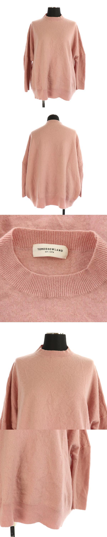 ウールシルク ビッグプルオーバーニット セーター 七分袖 ハイネック S ピンク /MY ■OS