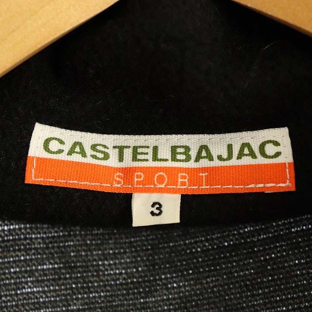 カステルバジャック CASTELBAJAC ワッペン プルオーバー ジャケット カットソー 長袖 ハーフジップ ハイネック 切替 3 グレー 黒 ブラック /ES ■OS メンズ