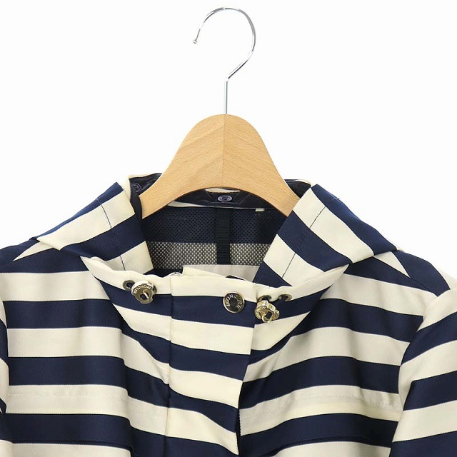 モンクレール MONCLER CORAIL striped Twill jacket フードジャケット ブルゾン ボーダー ドロスト 国内正規 00 アイボリー 紺 ネイビー /ES ■OS レディース
