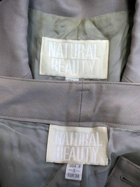ナチュラルビューティー NATURAL BEAUTY フォーマル スーツ セットアップ 上下 ジャケット テーラード シングル パンツ スラックス ロング ウール シルク混 S グレー /AH44 レディース
