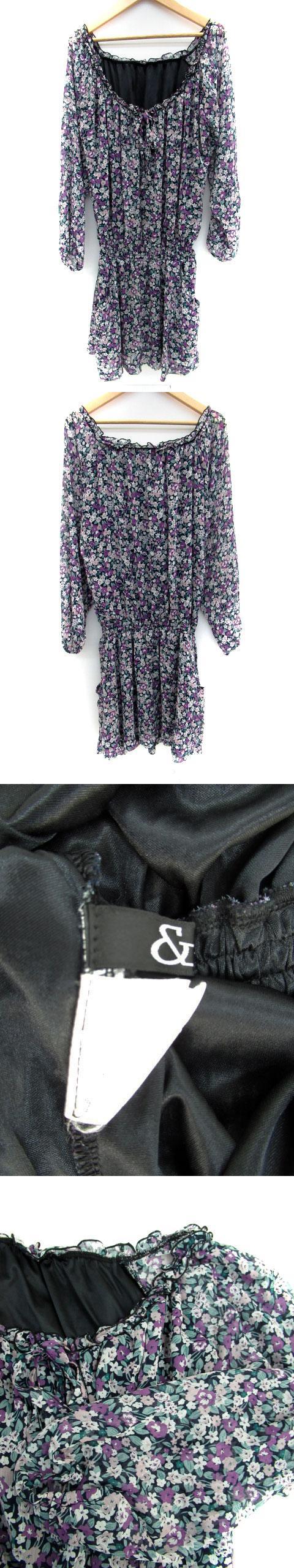 ワンピース ラウンドネック 長袖 ひざ丈 花柄 透け感 38 紫 パープル /AH38
