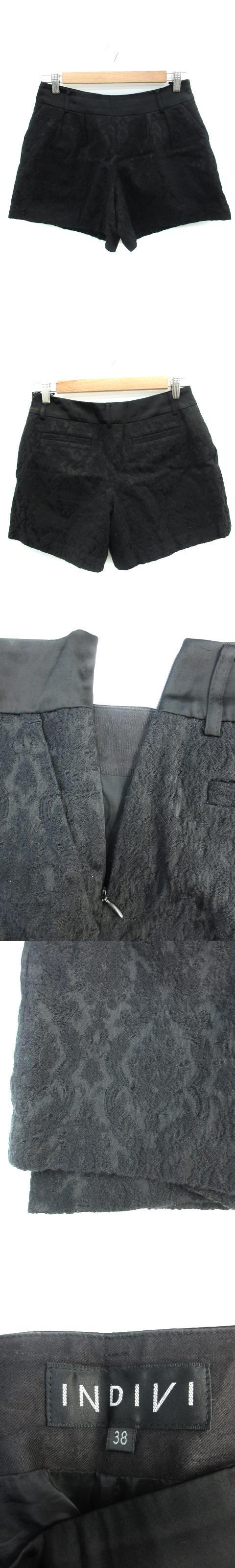パンツ キュロット ショート 短パン 総裏地 レース 38 黒 ブラック /FF8