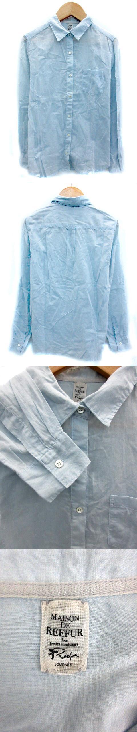 シャツ ブラウス 長袖 無地 薄手 38 水色 ライトブルー /MY22