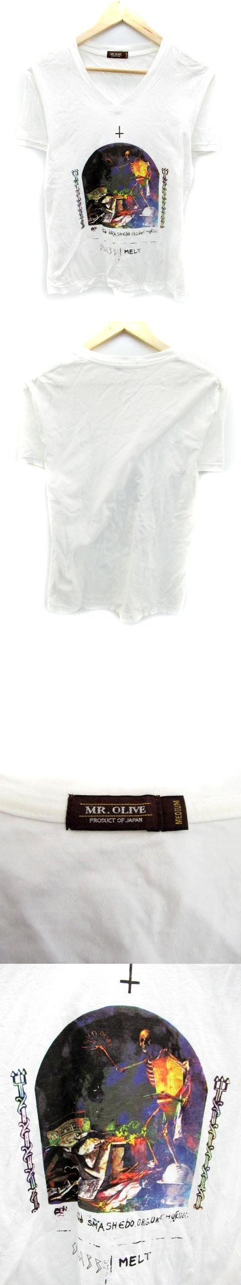 Tシャツ カットソー 半袖 Vネック イラスト M ホワイト 白 /YH9