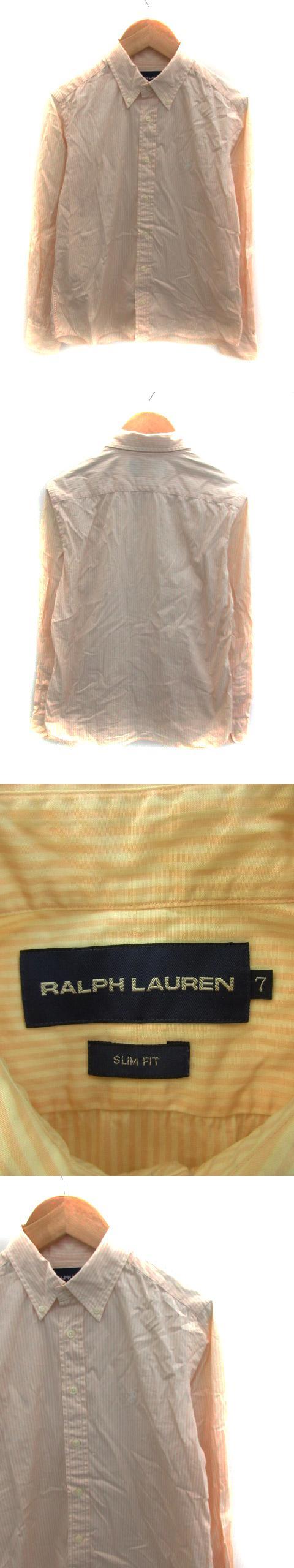 シャツ カジュアル ボタンダウン 長袖 ストライプ柄 ロゴ刺繍 7 ベージュ /NS19