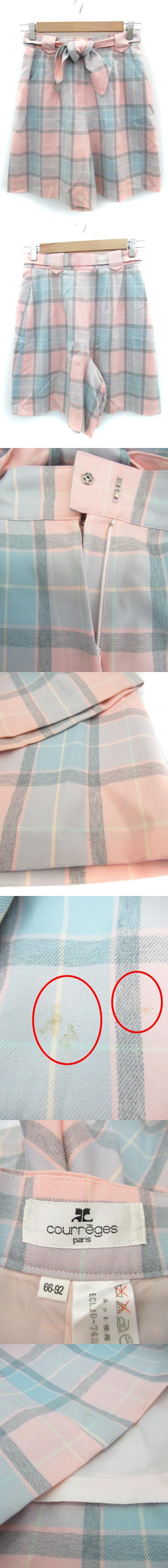パンツ キュロット ハーフ ウール リボン付き チェック柄 66-92 ピンク 水色 ライトブルー /FF43