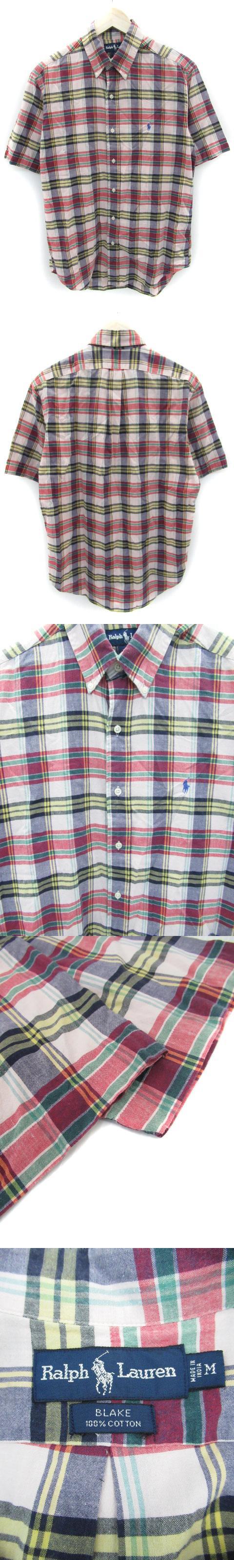シャツ カジュアル 五分袖 ボタンダウン チェック柄 マルチカラー M ピンク 紺 ネイビー /FF25